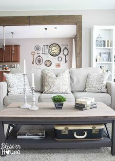 Rustic Industrial Coffee Table Makeover - by Bless'er House