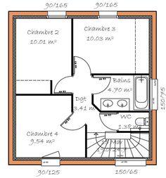Plan De Maison Contemporaine 4 Chambres Avec Mezzanine 平面 住宅
