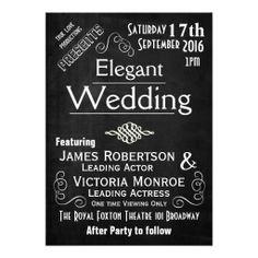 Decorative Playbill Movie Chalkboard Wedding Personalized Invitation