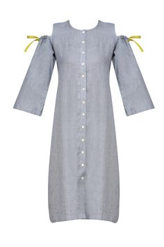 bd47af0c28 Grey and linen cold shoulder dress with pink ikat scarf available only at  Pernia s Pop Up