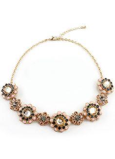 5.99 Black Gemstone Gold Flowers Necklace