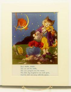 Hey Diddle Nursery Ryhmes, Old Nursery Rhymes, Hey Diddle Diddle, Baby Bunting, Vintage Nursery, Mother Goose, Cat Stuff, Boy Room, Baby Baby