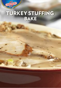 Here's a way to make everyone's favorite combination—turkey and stuffing—in less than one hour. It's a speedy and savory holiday dinner all in one dish. This Turkey Stuffing Bake recipe is made even easier with your Thanksgiving leftovers! Turkey Leftovers, Turkey Stuffing, Thanksgiving Leftovers, Leftover Turkey, Happy Thanksgiving, Turkey Recipes, My Recipes, Crockpot Recipes, Baking Recipes