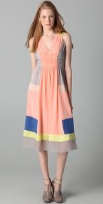 Color block Rebecca Taylor dress in grey, blue, yellow and peach
