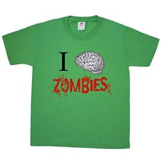 Inktastic Big Boys' I (Brain) Zombies Youth T-Shirt Youth Kelly Green - Brought to you by Avarsha.com