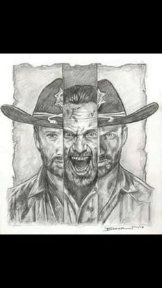 This drawing of Rick Grimes from The Walking Dead is amazing! Walking Dead Memes, Fear The Walking Dead, Walking Dead Drawings, Dead Pictures, Funny Pictures, Grumpy Cat Humor, Stuff And Thangs, Rick Grimes, Zombie Apocalypse