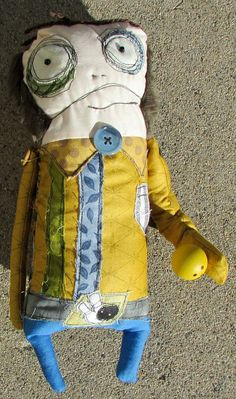 Buck, the One Big armed Bowler handmade art doll - by monstermaud