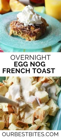 An easy and delicious holiday breakfast that can be made the night before! This Egg Nog French Toast will become a family tradition in no time! Easy Christmas Morning Breakfast! #OurBestBites #EggNog #EggNogFrenchToast #FrenchToast #OvernightFrenchToast #ChristmasMorningBreakfast #ChristmasMorning