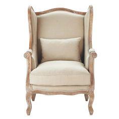fauteuil berg re en coton taupe manoir maisons du monde mdm textiles pinterest taupe. Black Bedroom Furniture Sets. Home Design Ideas