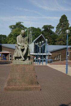 A statue of James Watt, the 18th century Scottish inventor and engineer, outside Heriot-Watt University.