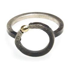Silberring mit Gelbgold Wedding Rings, Engagement Rings, Jewelry, Silver Jewellery, Gemstones, Handmade Jewelry, Objects, Engagement Ring, Enagement Rings