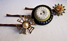 cabochon, antique button and vintage jewelry bobby pins- choose you own set- http://www.etsy.com/listing/90970905/bobby-pins3-antique-buttons-vintage