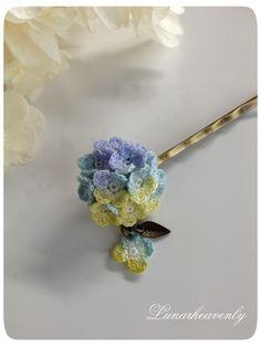紫陽花のヘアピン(水色)レース編み
