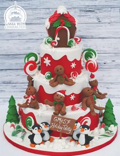A Gingerbread Christmas - Cake by Jean A. Christmas Cake Designs, Christmas Cake Decorations, Christmas Cupcakes, Christmas Sweets, Holiday Cakes, Christmas Goodies, Christmas Baking, Christmas Time, Xmas Cakes