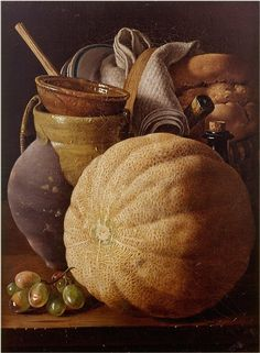 """Still Life With Melon, Jug and Bread"" by Luis Melendez"