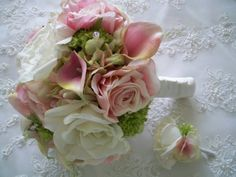 Blush Pink  Green Realtouch Calla Lillies and Realtouch Rose Bridal and Bridesmaids Bouquet Set