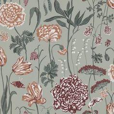 Aurelie by Sandberg - Sage Green : Wallpaper Direct Sage Green Wallpaper, Print Wallpaper, Flower Wallpaper, Pattern Wallpaper, Bouquet Champetre, Nina Campbell, Boutique Deco, Color Turquesa, Red Rooms