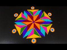 Simple Rangoli with Dots Indian Rangoli Designs, Rangoli Designs Latest, Rangoli Designs Flower, Small Rangoli Design, Colorful Rangoli Designs, Flower Rangoli, Beautiful Rangoli Designs, Diy Diwali Decorations, Festival Decorations