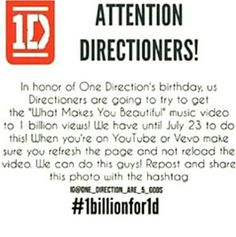 I now it's hard, but we can do this Directioners! #1billionfor1d