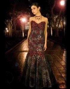 Red Leopard Animal Print Strapless Prom Dress