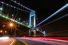 Verezzano Narrows Bridge from Bay Ridge Light Trail Photography, New York Photography, Night Photography, Street Photography, New York Pictures, Light Trails, George Washington Bridge, World Best Photos, Photo Contest