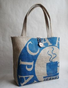 Upcycled tote. Grocery bag. Everyday bag. Book bag. Burlap. Brown white polka dot liner. from 5th Season