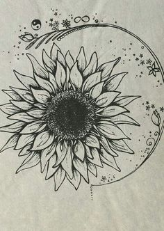 I love everything about this as a tatoo Sunflower Drawing, Sunflower Tattoos, Drawing Flowers, Flower Drawings, Sunflower Flower, Sunflower Mandala Tattoo, Watercolor Sunflower Tattoo, Sunflower Sketches, Sunflower Tattoo Meaning