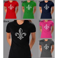 <li>Add style to your wardrobe with a Fleur De Lis shirt from Los Angeles Pop Art</li>     <li>Short-sleeve T-shirt features the symbol, depicting a stylized lily</li>  <li>Women's clothing comes in black, navy, grey and brown color options</li>