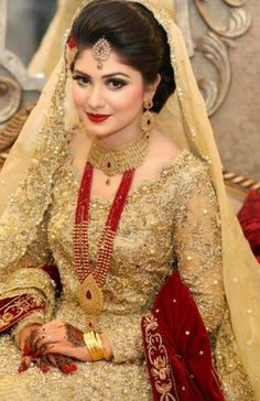 "Pakistani Wedding Dress Ideas - Pakistani Wedding Dress Ideas A ablaze chat about cocky doubts and appearance with Nishat Khan[[caption id="""" Pakistani Bridal Makeup, Pakistani Wedding Dresses, Bridal Lehenga, Dulhan Dress, Walima Dress, Saris, Mehndi, Henna, Bridal Makeover"