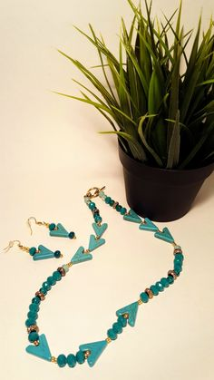 Arrow Blue Teal Necklace and Earring Set found on www.notablejewels.com
