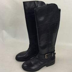 Marc Fisher Black Leather Knee High Boots New with scuffs in original box , has some scuffs but never worn or owned Marc Fisher Shoes Heeled Boots