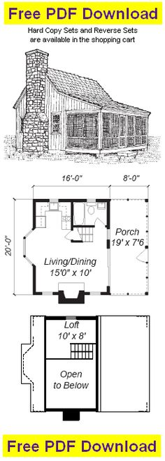 Cabins And Cottages: 400 sq ft with only sleeping loft (no bedroom) may. Tyni House, Tiny House Cabin, Tiny House Living, Small House Plans, Loft House, Cabin Plans With Loft, Small Cabin Plans, Cabin Floor Plans, The Plan