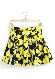 Yellow Flowers Print Mid Waist Cotton Blend Skirt