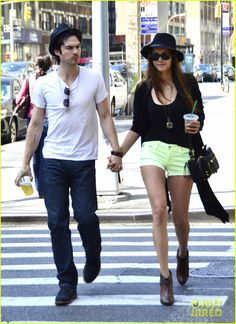 Nina Dobrev & Ian Somerhalder - Cute and simple yet effortlessly stylish outfit on Nina!