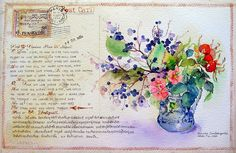 """07-10-10 """"Liszt and Countess Marie D'Agoult Postcard"""" : (Watercolor : A4 Size) by Bua S, via Flickr"""