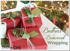 Birthday Gifts : Gift Wrap Ideas: Buttons & Boxwood by Finding Home Merry Little Christmas, All Things Christmas, Christmas Holidays, Christmas Crafts, Christmas Ideas, Creative Gift Wrapping, Creative Gifts, Wrapping Ideas, Wrapping Presents