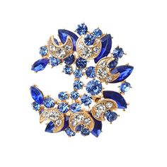 awesome YAZILIND Inlaid Moon Shape Pin Brooch Golden Blue Rhinestone Moon Pendant Imperial Crown Breastpin