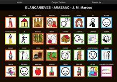MATERIALES - Blancanieves.    Tablero de 32 casillas (8x4) del comunicador AraBoard para responder a preguntas sobre el cuento de Blancanieves.    http://arasaac.org/materiales.php?id_material=755    Descargar AraBoard versión PC:  http://giga.cps.unizar.es/affectivelab/araboard.html    Descargar AraBoard versión Android desde Google Play.