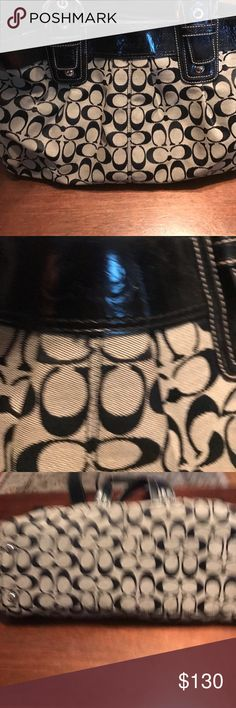 Black and gray coach purse Black and grey coach purse. Purse has three inside compartments. Purse has been carried and stored in my closet. There is some wear and tear noticeable. Coach Bags Shoulder Bags