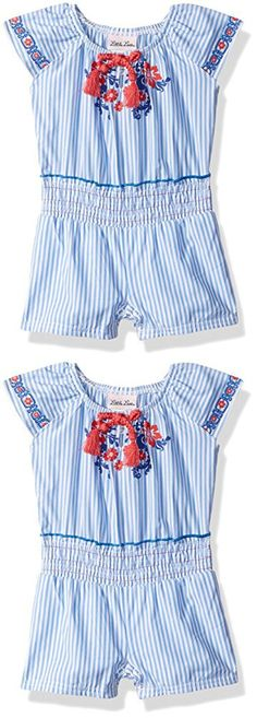 Little Lass Baby Girls' 1 Pc Striped Poplin Romper, White, 12M