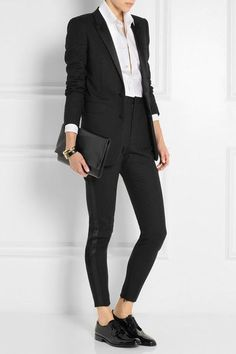 All Saint Laurent outfit Business Outfits, Business Attire, Office Outfits, Business Fashion, Casual Outfits, Work Outfits, Fall Outfits, Brogues Womens Outfit, Oxford Shoes Outfit