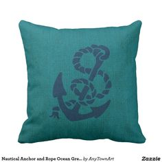 Nautical Anchor and Rope Ocean Green Blue