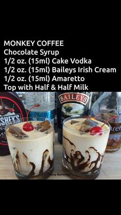 How To Make Best Copycat Baileys Irish Cream Recipe Monkey Coffee specialty drink Christmas Drinks, Holiday Drinks, Summer Drinks, Winter Drinks, Liquor Drinks, Cocktail Drinks, Alcoholic Coffee Drinks, Amaretto Drinks, Baileys Drinks