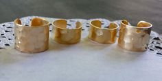 4pc - Natural Brass HAMMERED Ear Cuff SAMPLER - Sizes 1/4 and 3/8 - NO Hole and One Hole