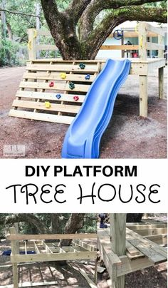 DIY platform tree house with easy steps on how you can create a tree house too! This is a simple tutorial on how to create your own DIY platform tree house with a climbing rock wall and a slide. This tree house is great for any age. Kids Outdoor Play, Backyard For Kids, Backyard Ideas, Tree House Plans, Tree House Deck, Simple Tree House, House 2, Tree House Designs, Backyard Playground
