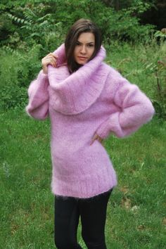 Pink Hand Knitted Mohair Sweater Fuzzy Soft Cowl Neck Dress by Sseu | eBay
