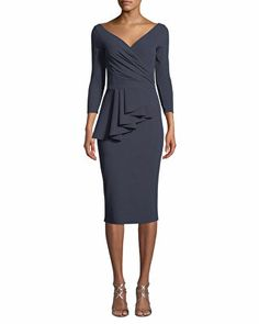 Ariane Pinstripe Peplum Wrap Dress by Chiara Boni La Petite Robe at Neiman Marcus. Dress Shorts Outfit, Peplum Dress, Wrap Dress, Dresses For Sale, Dresses For Work, Dress Brokat, Mother Of The Bride Dresses Long, Designer Cocktail Dress, Cocktail Dresses