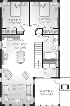 Second Floor Plan of Narrow Lot   Traditional   Garage Plan 65215