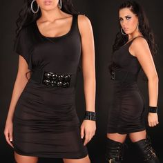 woman sexy fitted black minidress in single-sleeve with belt