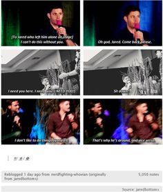 Pat on the back to the SPN Family for helping Jensen overcome a lot of his shyness.